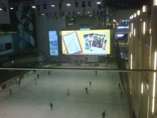 Hockey Rink and Big Screen in Mall